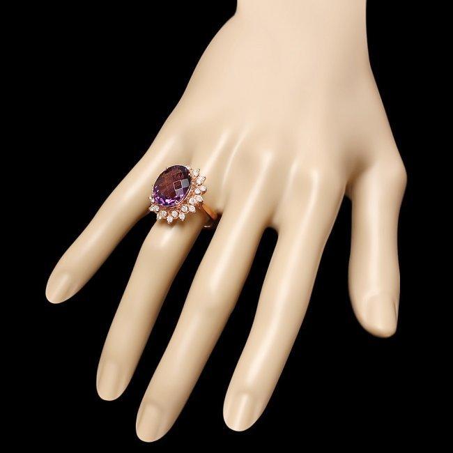14k Rose Gold 8.50ct Amethyst 1.00ct Diamond Ring - 3