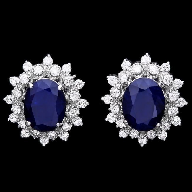 14k Gold 7ct Sapphire 1.25ct Diamond Earrings
