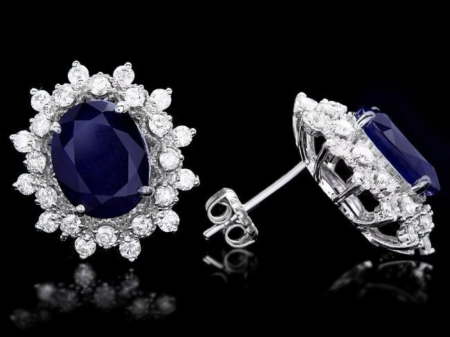 14k Gold 7ct Sapphire 1.25ct Diamond Earrings - 3