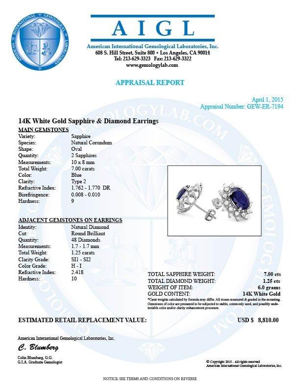 14k Gold 7ct Sapphire 1.25ct Diamond Earrings - 5