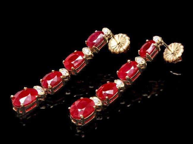 14k Gold 9.00ct Ruby 0.25ct Diamond Earrings - 2