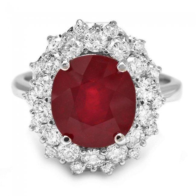 14k White Gold 6.50ct Ruby 1.50ct Diamond Ring - 2