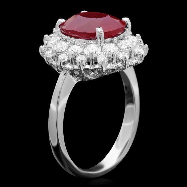 14k White Gold 6.50ct Ruby 1.50ct Diamond Ring - 3
