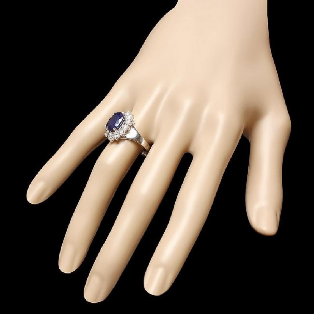 14k Gold 4.00ct Sapphire 1.10ct Diamond Ring - 3