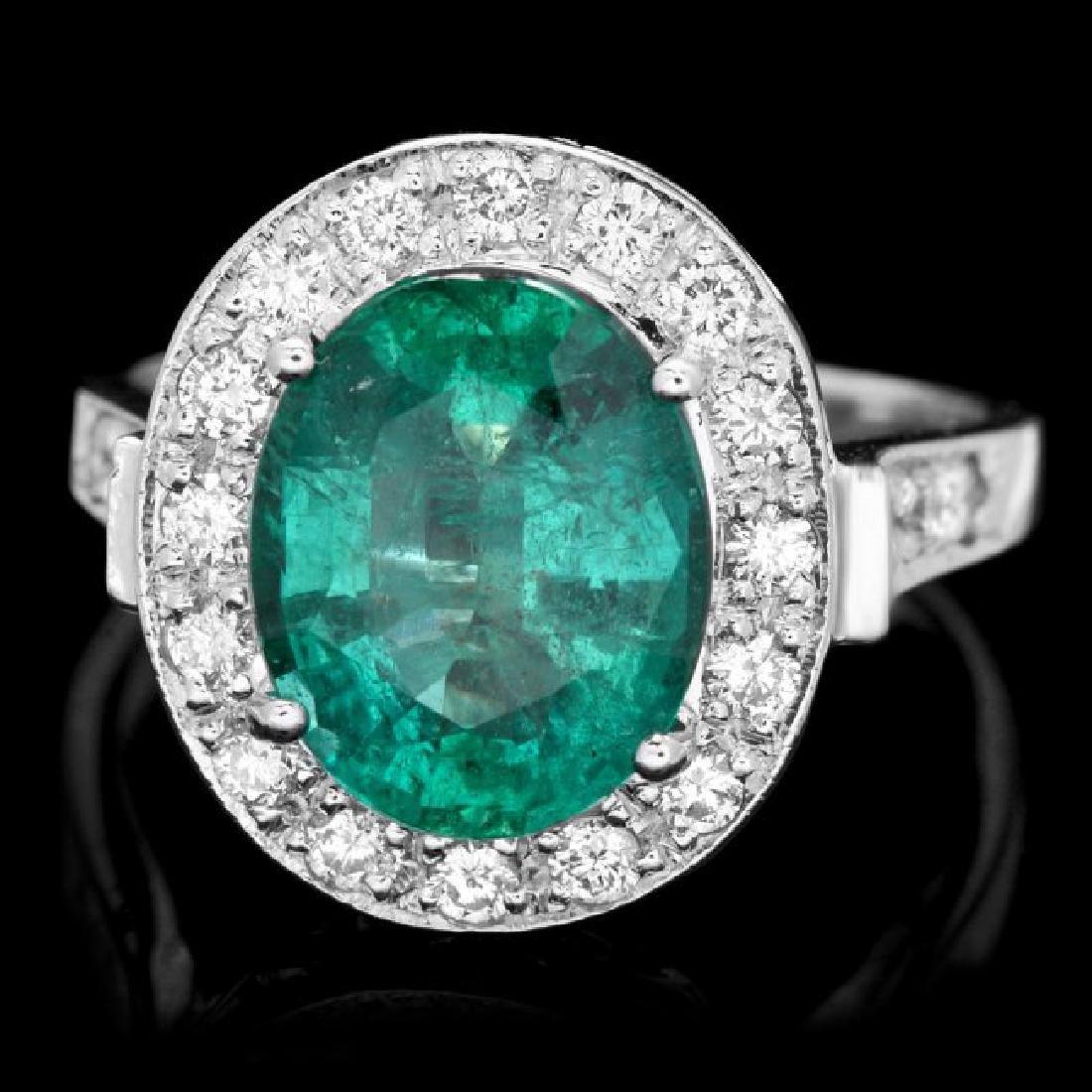 14k White Gold 3.50ct Emerald 0.70ct Diamond Ring