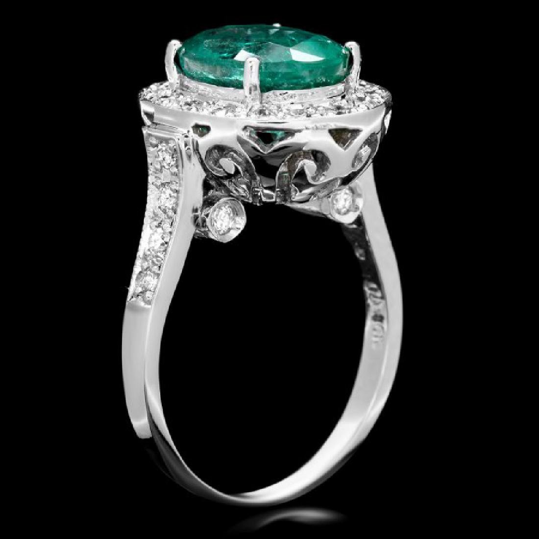 14k White Gold 3.50ct Emerald 0.70ct Diamond Ring - 3