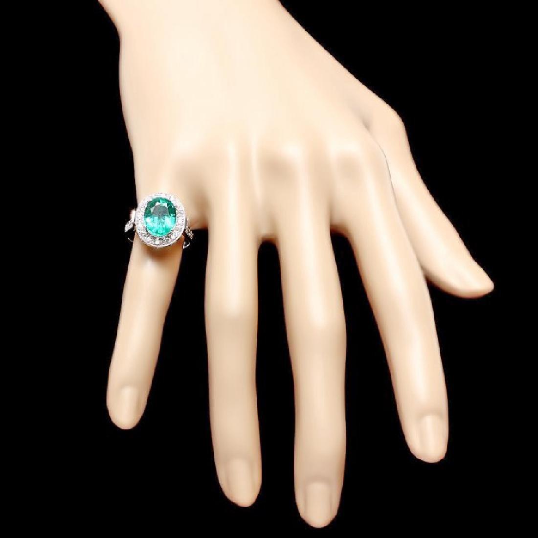 14k White Gold 3.50ct Emerald 0.70ct Diamond Ring - 4