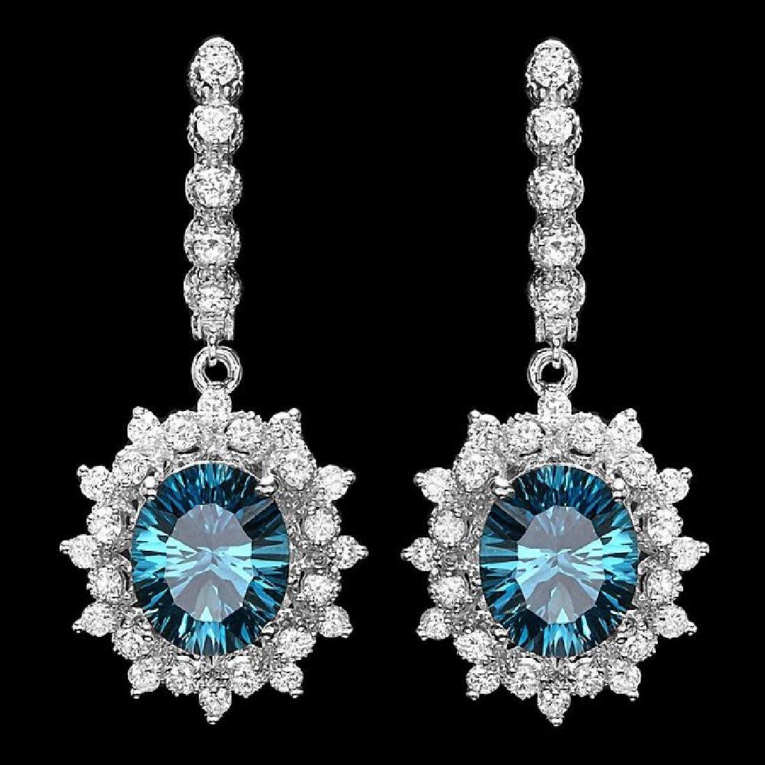 14k White Gold 8ct Topaz 1.80ct Diamond Earrings