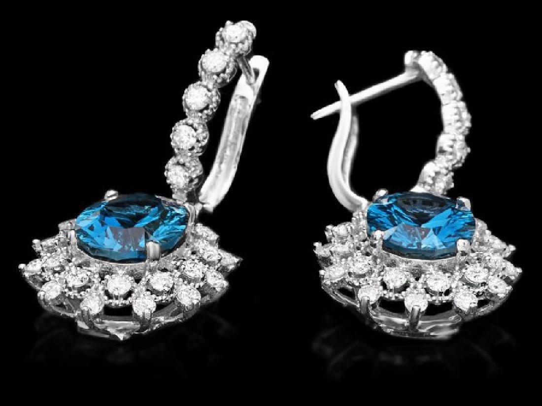 14k White Gold 8ct Topaz 1.80ct Diamond Earrings - 2