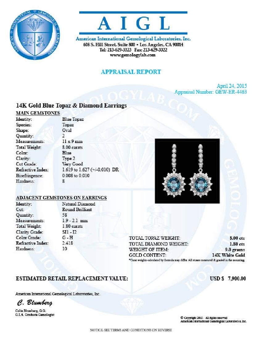 14k White Gold 8ct Topaz 1.80ct Diamond Earrings - 3