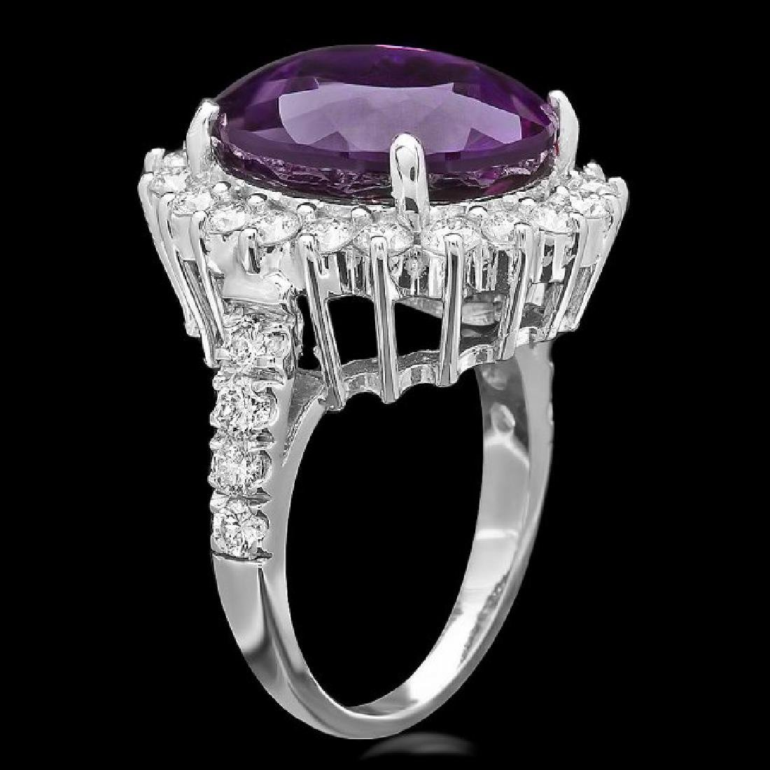 14k Gold 9.50ct Amethyst 1.60ct Diamond Ring - 2