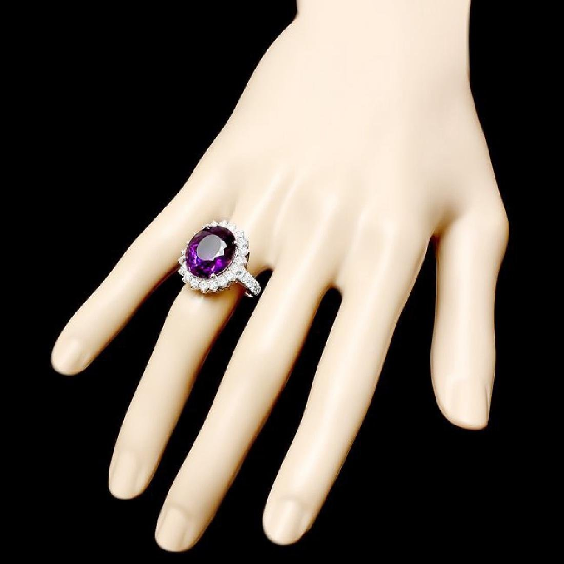 14k Gold 9.50ct Amethyst 1.60ct Diamond Ring - 3