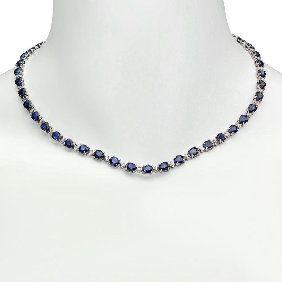 14K Gold 31.39ct Sapphire 1.52ct Diamond Necklace