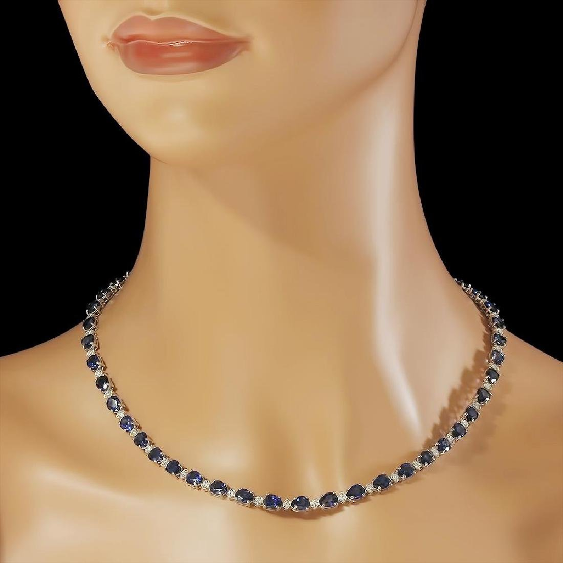 14K Gold 31.39ct Sapphire 1.52ct Diamond Necklace - 3