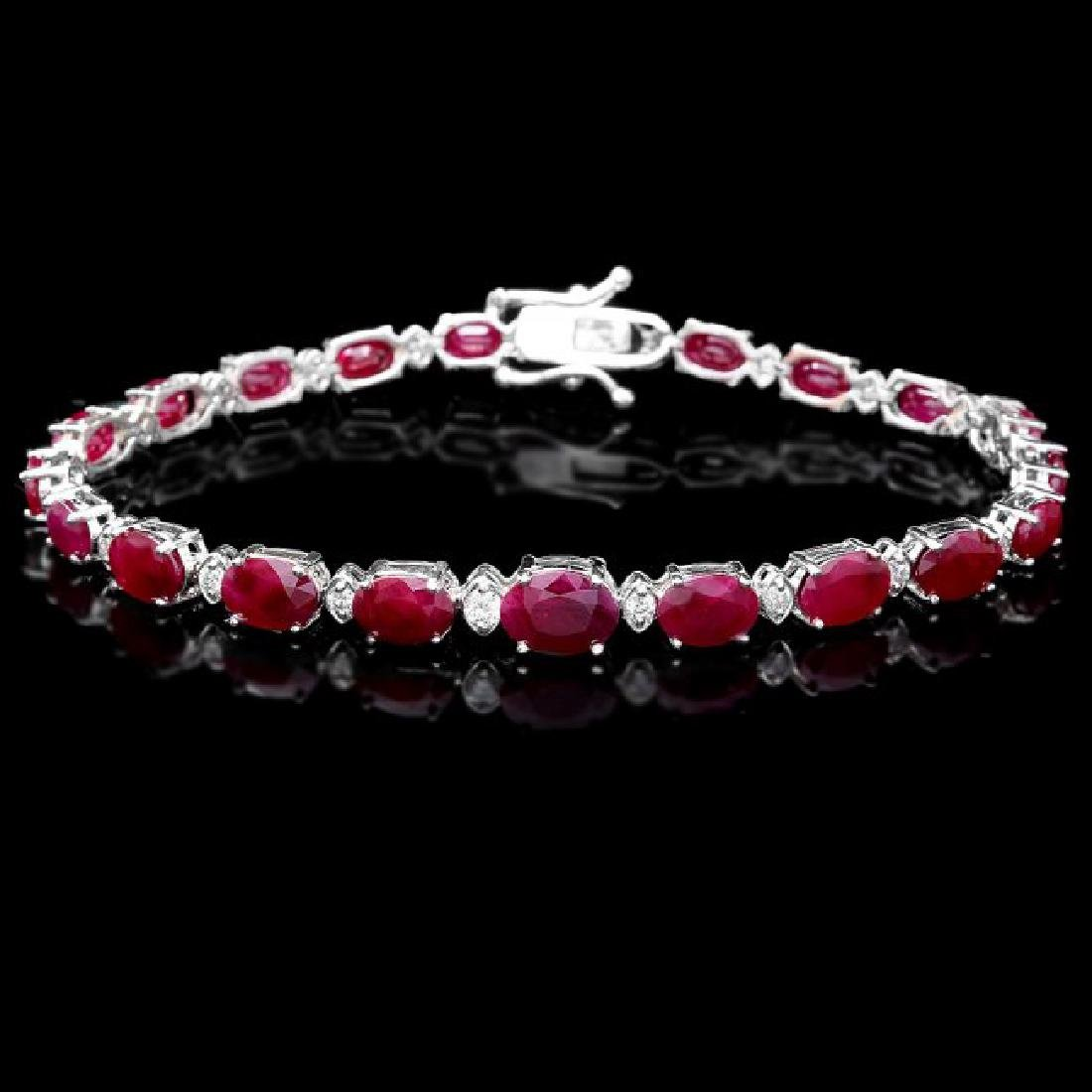 14k Gold 16.00ct Ruby 0.70ct Diamond Bracelet