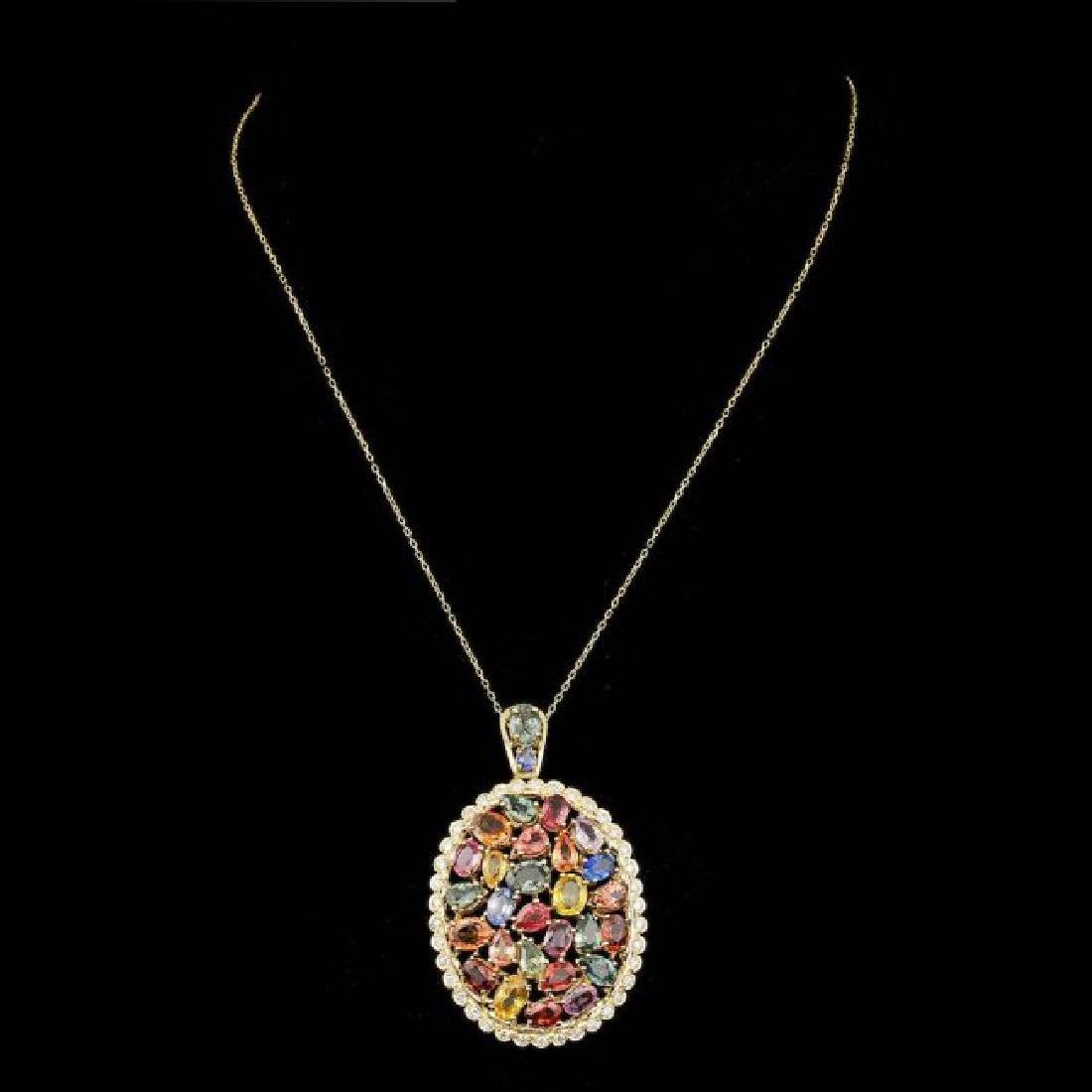 14k Gold 17.50ct Sapphire 1.10ct Diamond Pendant - 2