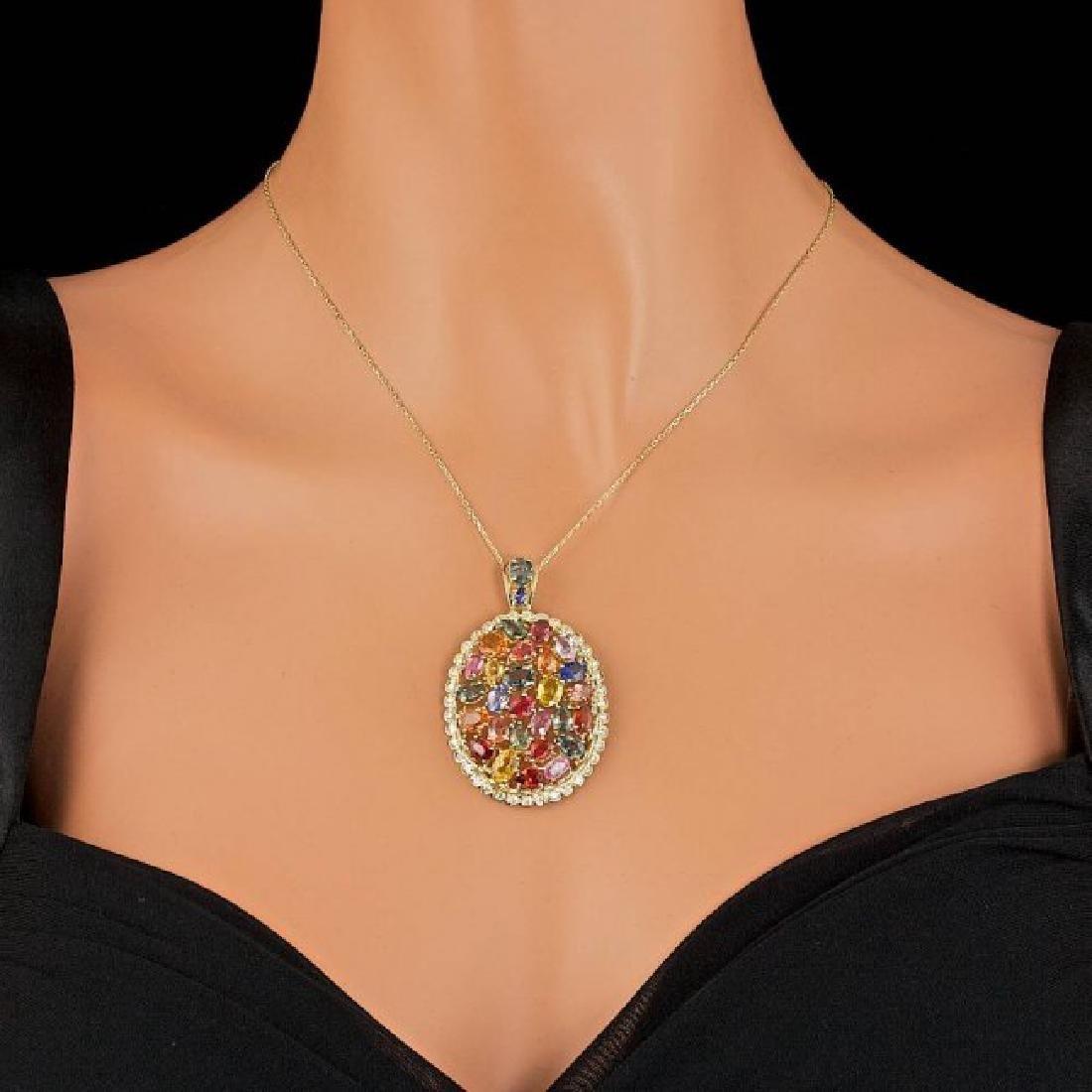 14k Gold 17.50ct Sapphire 1.10ct Diamond Pendant - 3