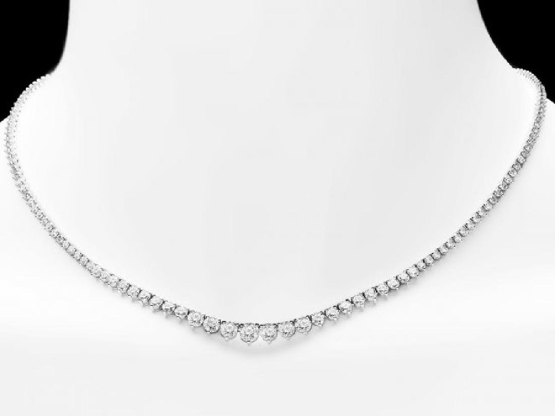 18k White Gold 9.20ct Diamond Necklace - 5