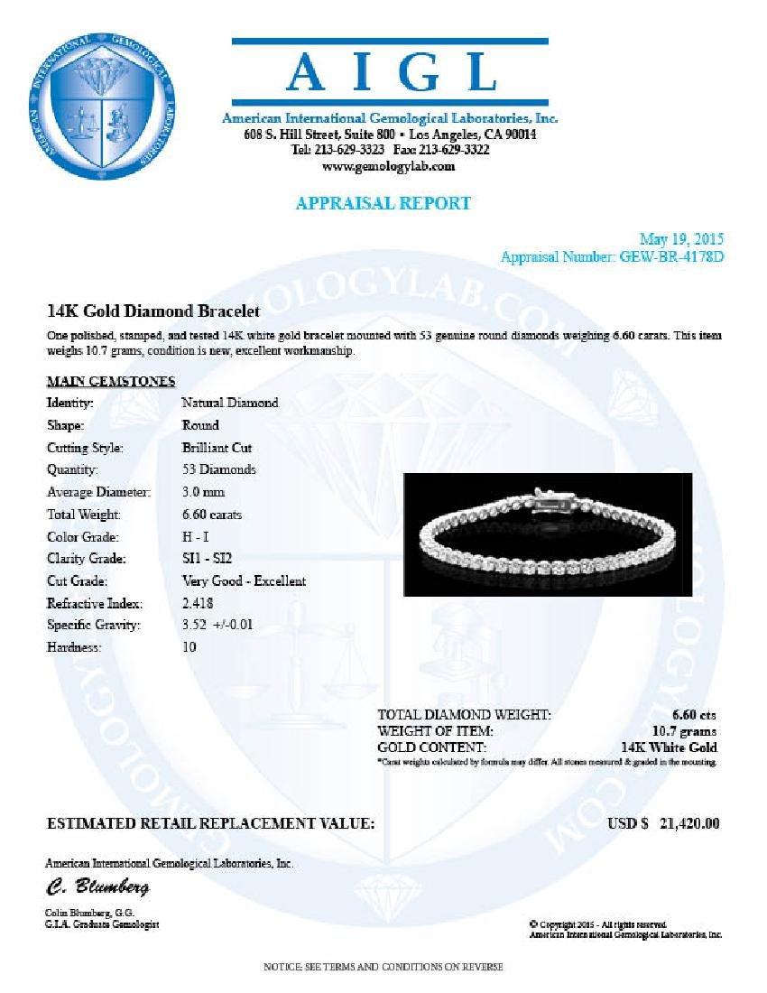 14k White Gold 6.60ct Diamond Bracelet - 7
