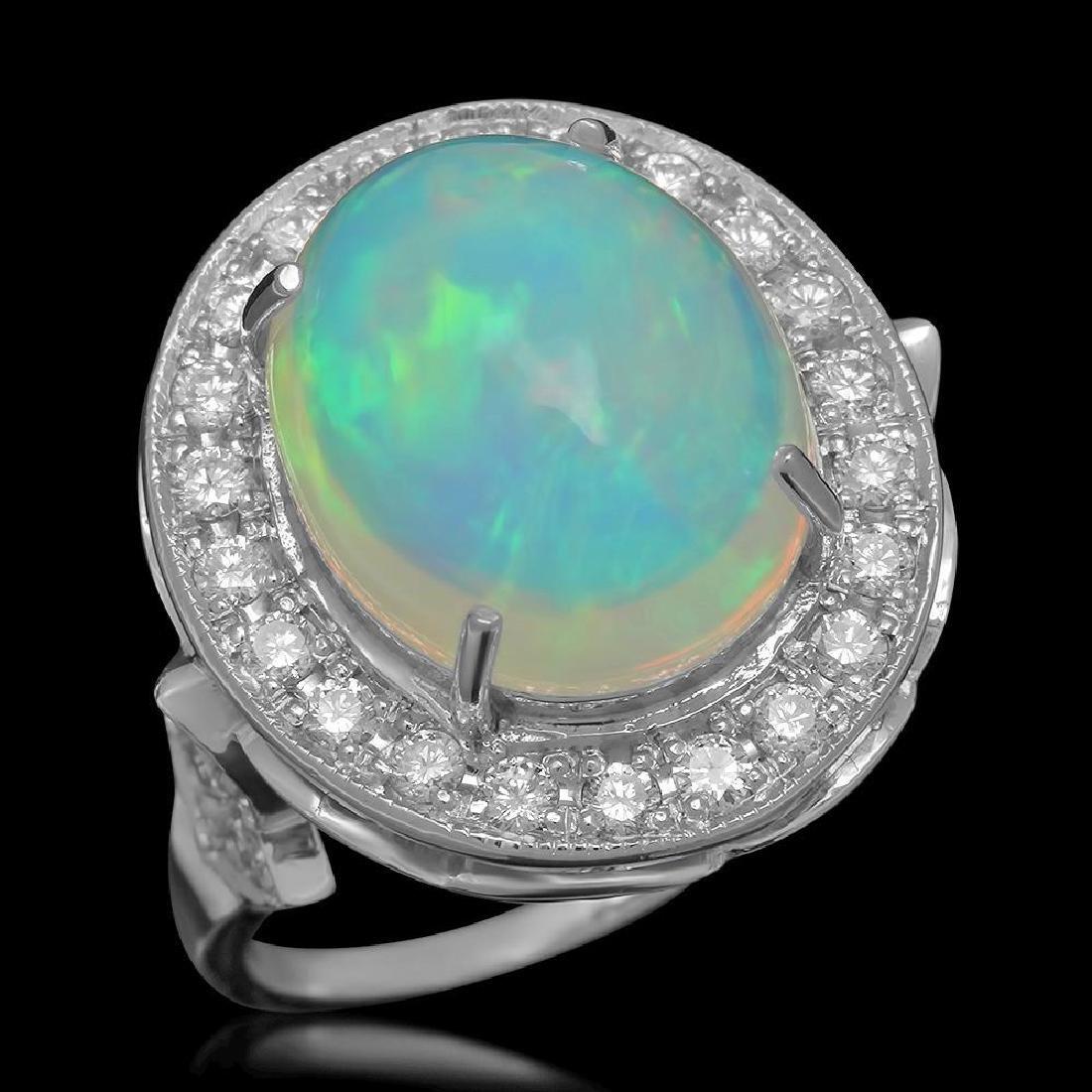 14K Gold 5.67ct Opal 0.88ct Diamond Ring