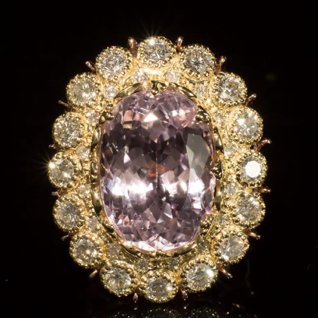 14K Gold 19.68ct Kunzite 2.75ct Diamond Ring