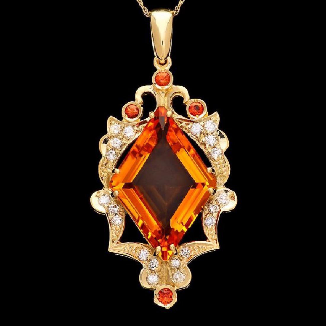 14k Gold 15ct Citrine 0.70ct Diamond Pendant