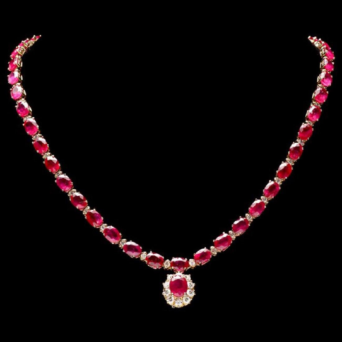 14k Gold 55.7ct Ruby 2.70ct Diamond Necklace