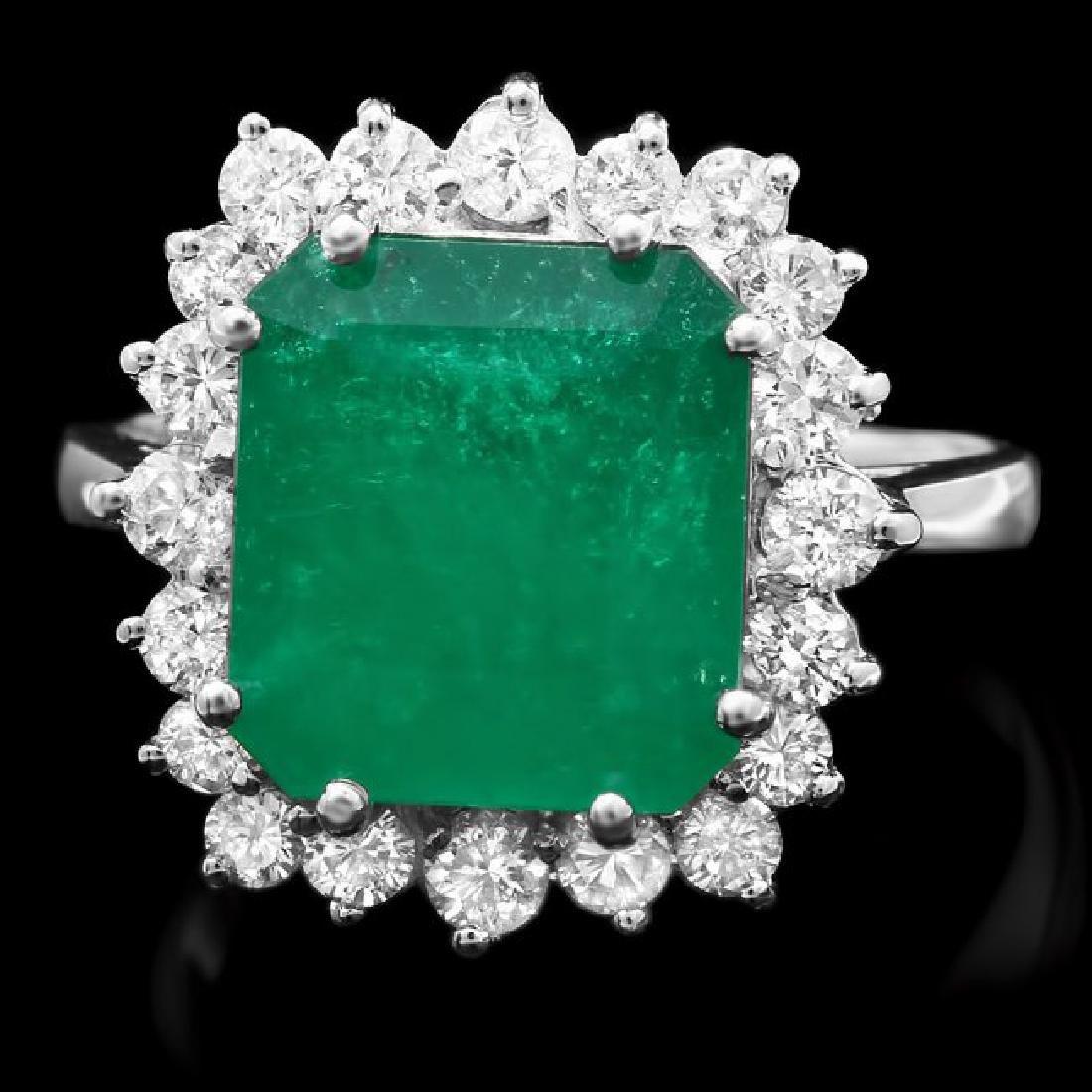 14k White Gold 4ct Emerald 0.80ct Diamond Ring