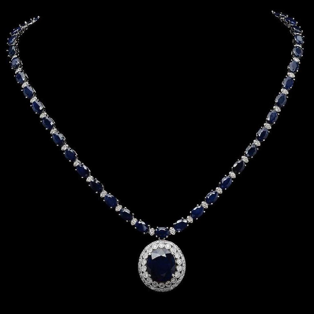 14K Gold 50.77 ct Sapphire & 3.27 ct Diamond Necklace