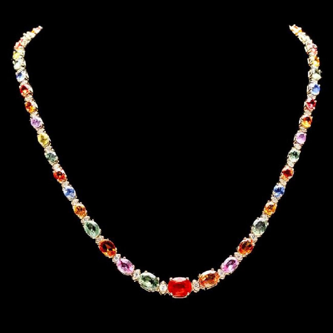 14k Gold 33.00ct Sapphire 1.70ct Diamond Necklace