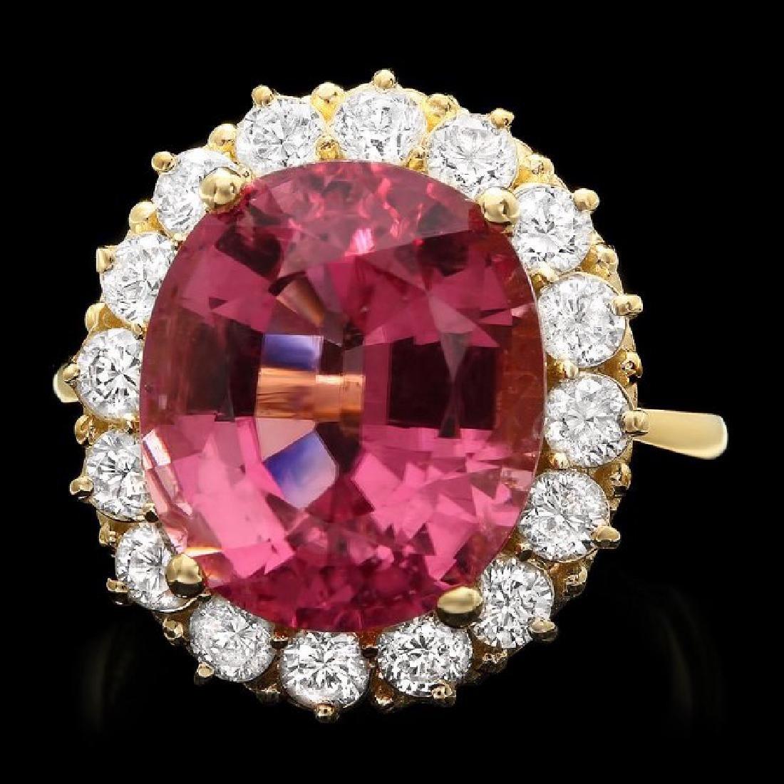 14k Gold 10.50ct Tourmaline 1.50ct Diamond Ring
