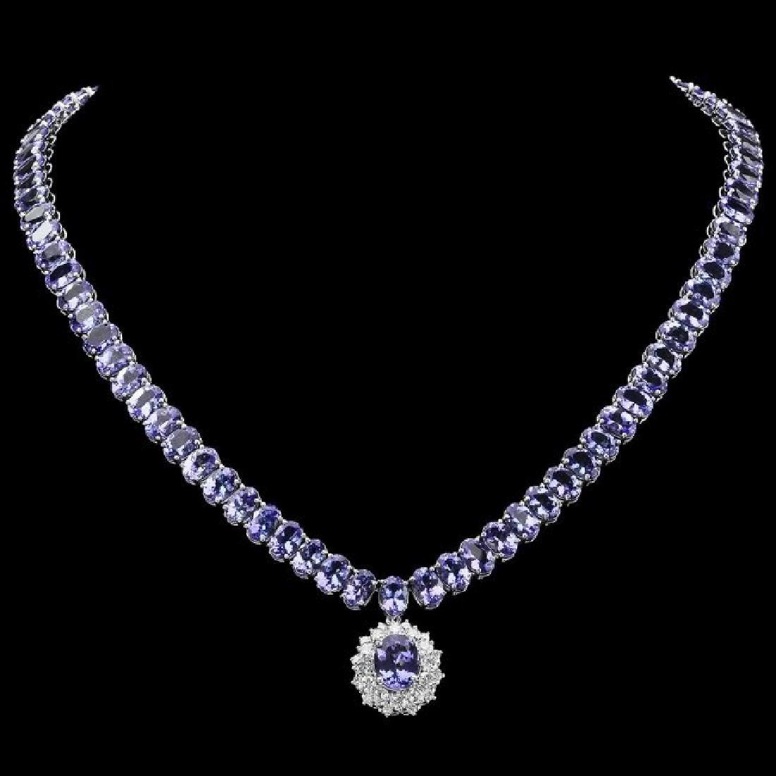 14k Gold 64.5ct Tanzanite 1.60ct Diamond Necklace - 2