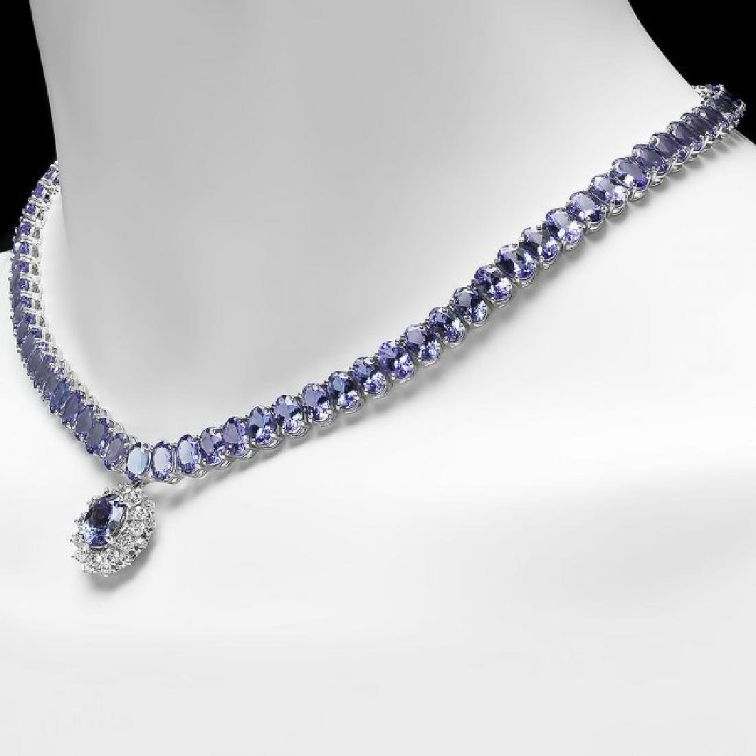 14k Gold 64.5ct Tanzanite 1.60ct Diamond Necklace - 5