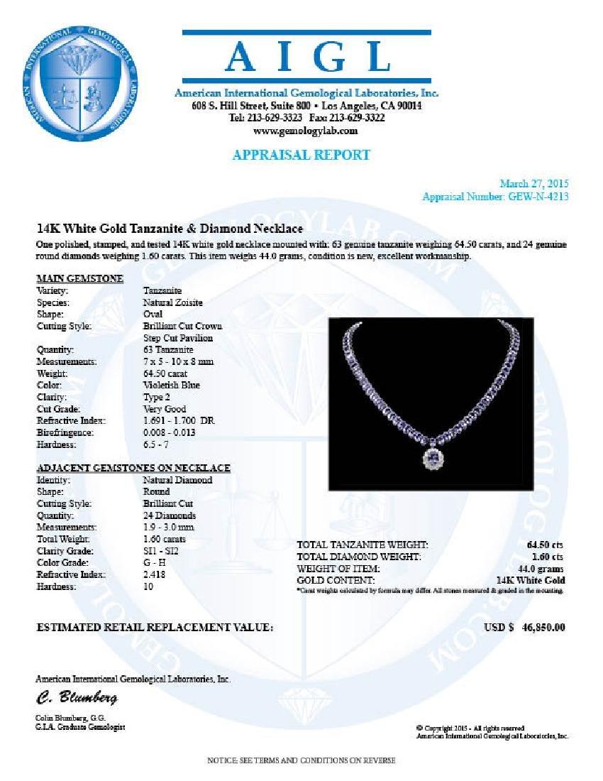 14k Gold 64.5ct Tanzanite 1.60ct Diamond Necklace - 7