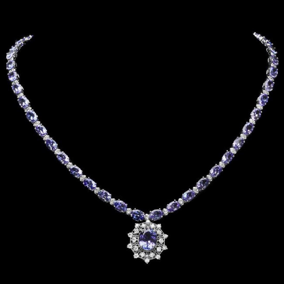14k Gold 34.5ct Tanzanite 2.80ct Diamond Necklace - 2