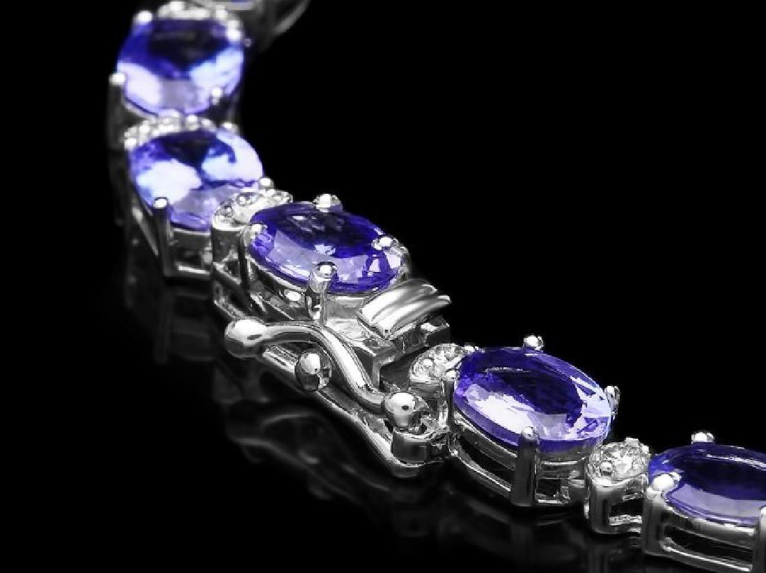 14k Gold 34.5ct Tanzanite 2.80ct Diamond Necklace - 3
