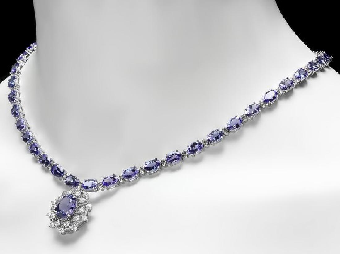 14k Gold 34.5ct Tanzanite 2.80ct Diamond Necklace - 4