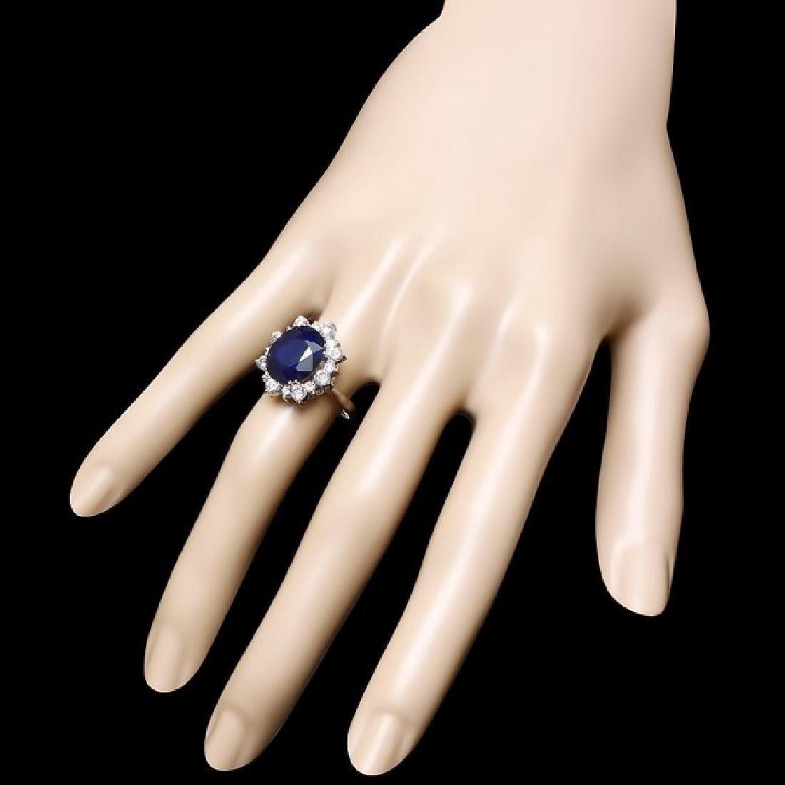 14k Gold 7.00ct Sapphire 1.00ct Diamond Ring - 3