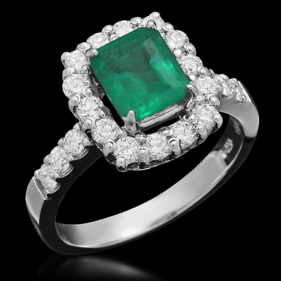 14K Gold 1.26ct Emerald 0.85ct Diamond Ring