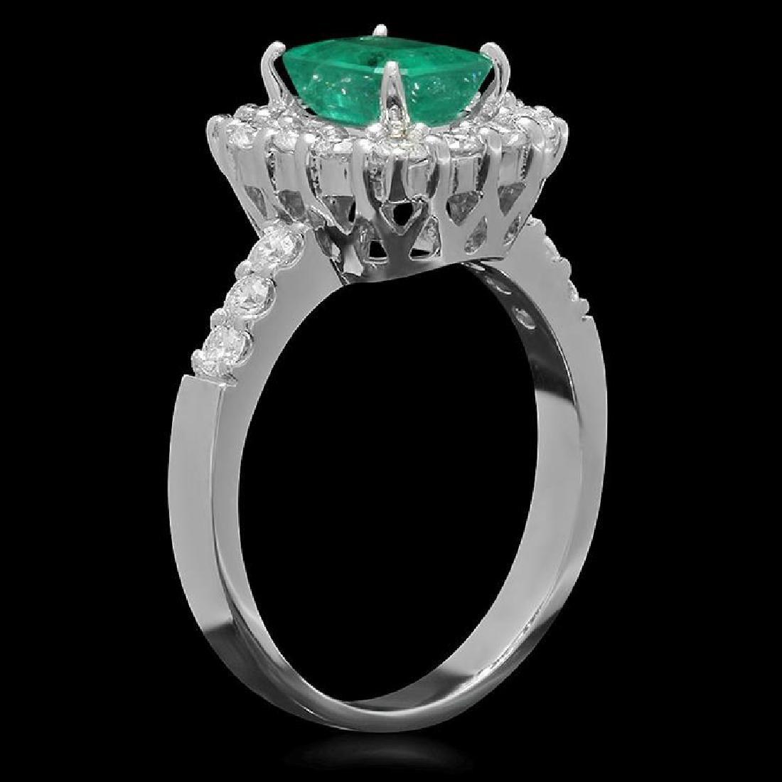 14K Gold 1.26ct Emerald 0.85ct Diamond Ring - 2