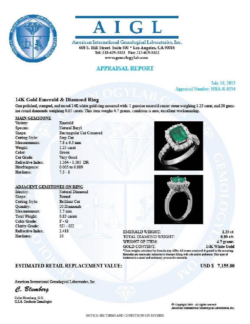 14K Gold 1.26ct Emerald 0.85ct Diamond Ring - 4