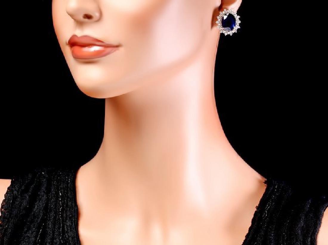 14k Gold 18ct Sapphire 1.35ct Diamond Earrings - 4