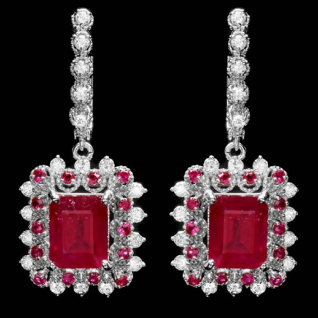 14k Gold 11.4ct Ruby 1.50ct Diamond Earrings