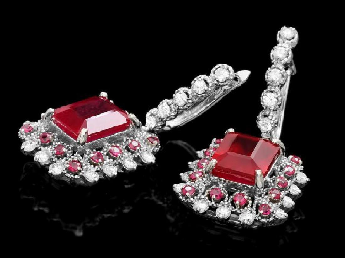 14k Gold 11.4ct Ruby 1.50ct Diamond Earrings - 2