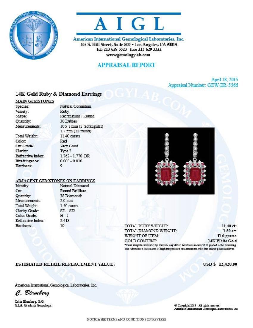 14k Gold 11.4ct Ruby 1.50ct Diamond Earrings - 4