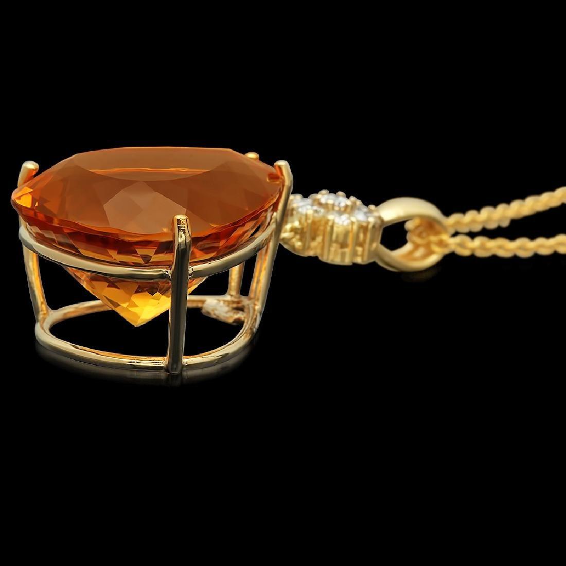 14K Gold 41.00ct Citrine Diamond Pendant - 2