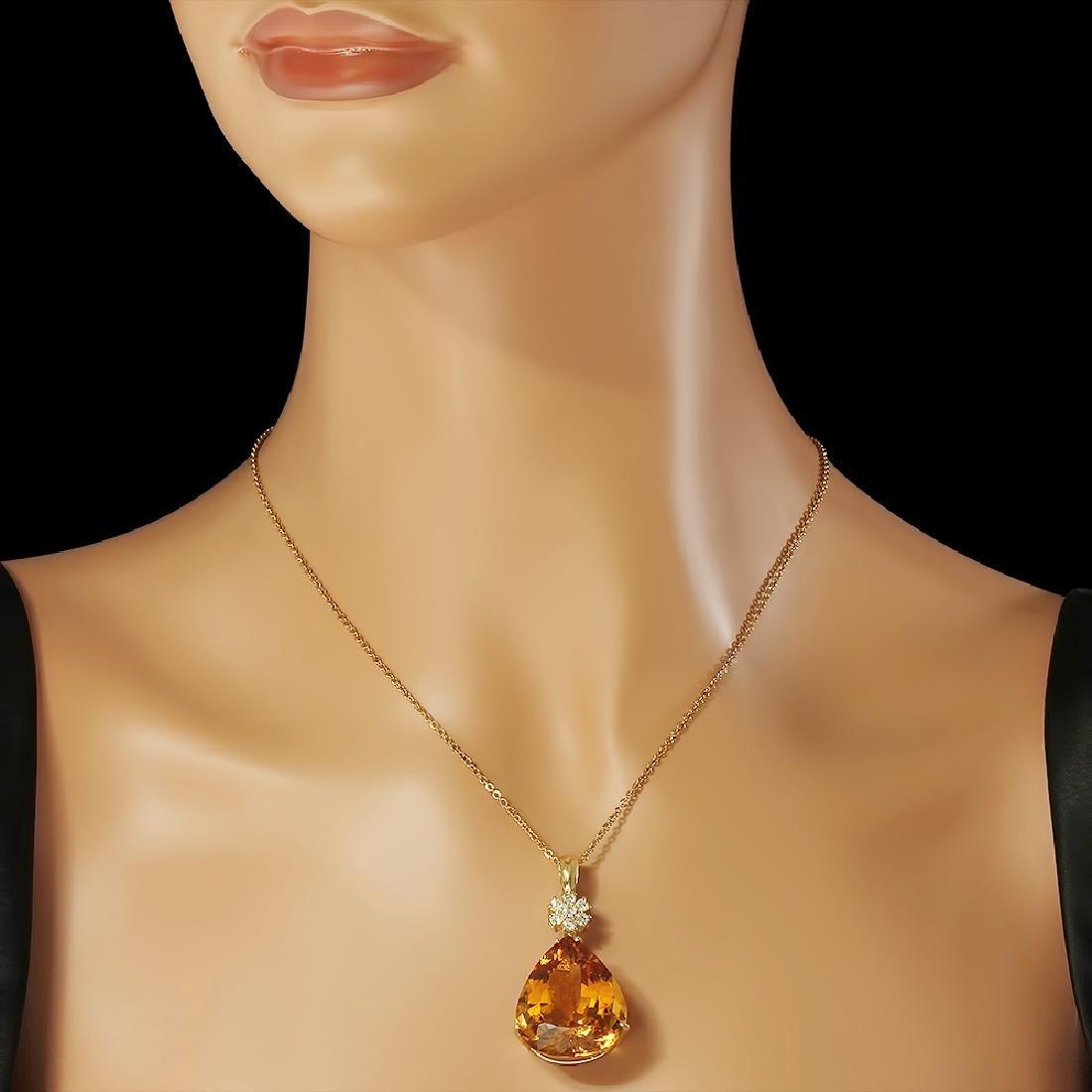 14K Gold 41.00ct Citrine Diamond Pendant - 3