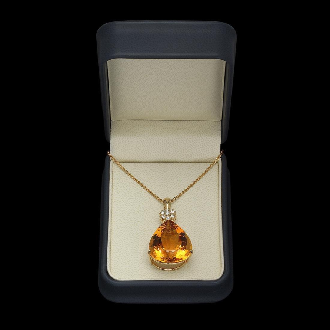 14K Gold 41.00ct Citrine Diamond Pendant - 4