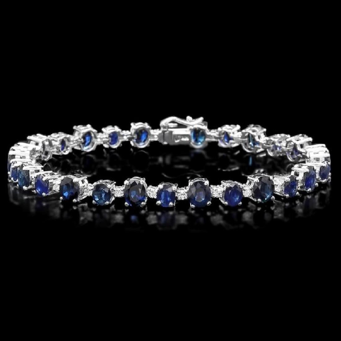 14k Gold 16.30ct Sapphire 1.10ct Diamond Bracelet