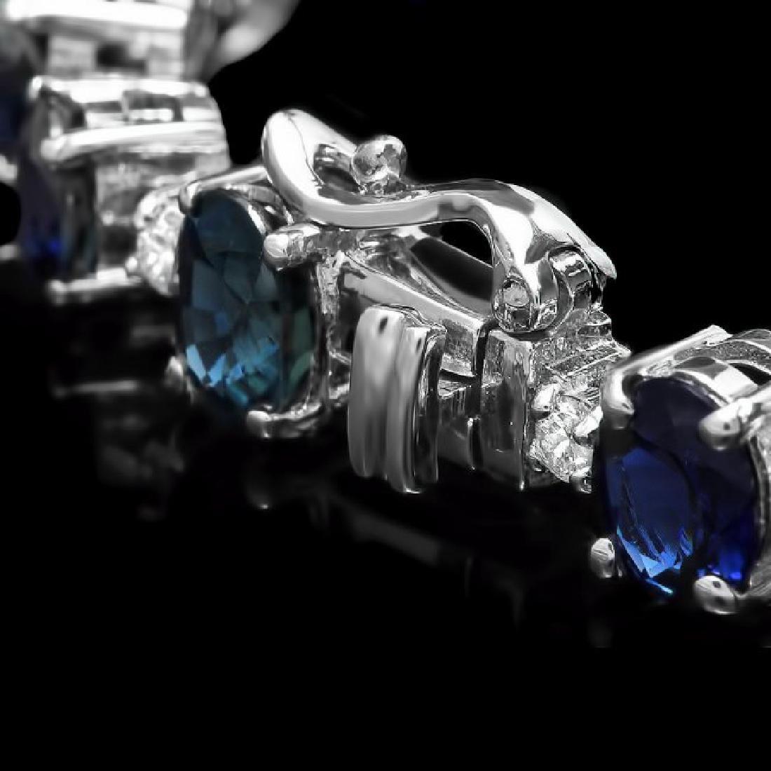 14k Gold 16.30ct Sapphire 1.10ct Diamond Bracelet - 3